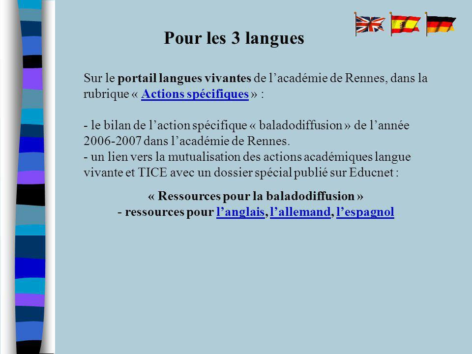 Pour les 3 langues Sur le portail langues vivantes de lacadémie de Rennes, dans la rubrique « Actions spécifiques » : - le bilan de laction spécifique « baladodiffusion » de lannée 2006-2007 dans lacadémie de Rennes.