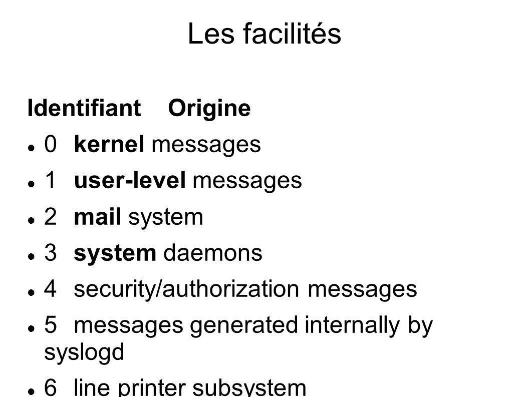 L écriture dans syslog La journalisation dans syslog (local ou distant) se fait via : logger[1] (commande Unix) pour les scripts shell vsyslog() ou syslog()[2] pour les programmes compilés ; ce sont des fonctions implémentées dans des bibliothèques logicielles