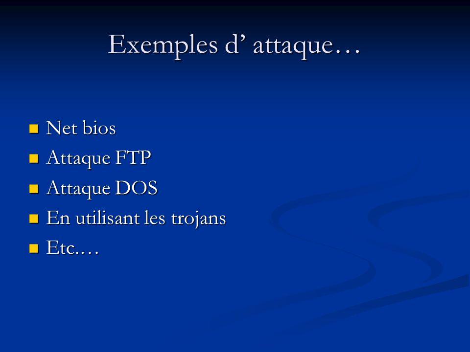 Exemples d attaque… Net bios Net bios Attaque FTP Attaque FTP Attaque DOS Attaque DOS En utilisant les trojans En utilisant les trojans Etc.… Etc.…