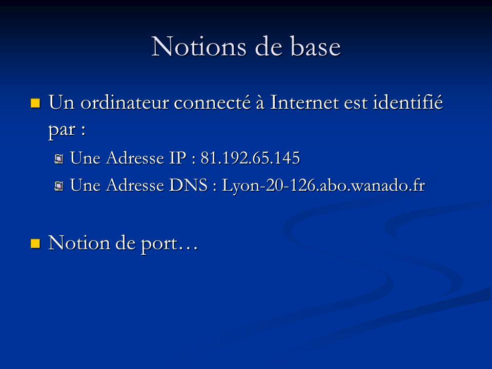 Notions de base Un ordinateur connecté à Internet est identifié par : Un ordinateur connecté à Internet est identifié par : Une Adresse IP : 81.192.65.145 Une Adresse DNS : Lyon-20-126.abo.wanado.fr Notion de port… Notion de port…