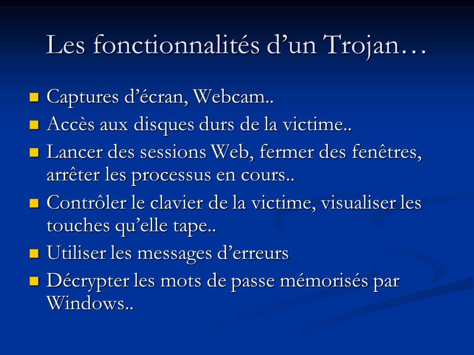 Les fonctionnalités dun Trojan… Captures décran, Webcam..