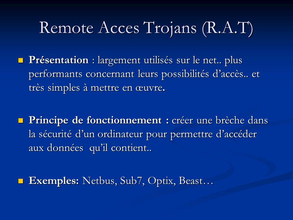 Remote Acces Trojans (R.A.T) Présentation : largement utilisés sur le net..
