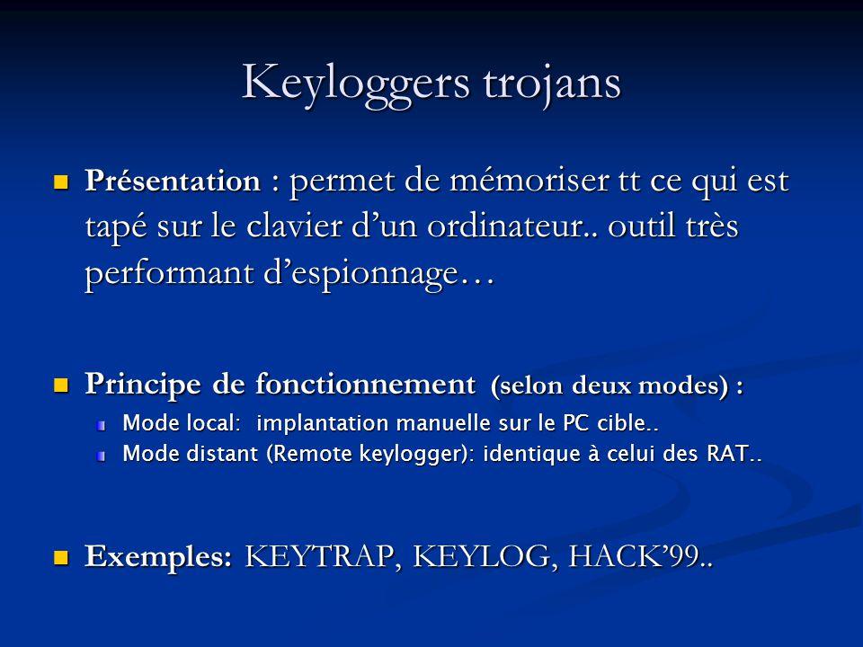 Keyloggers trojans Présentation : permet de mémoriser tt ce qui est tapé sur le clavier dun ordinateur..
