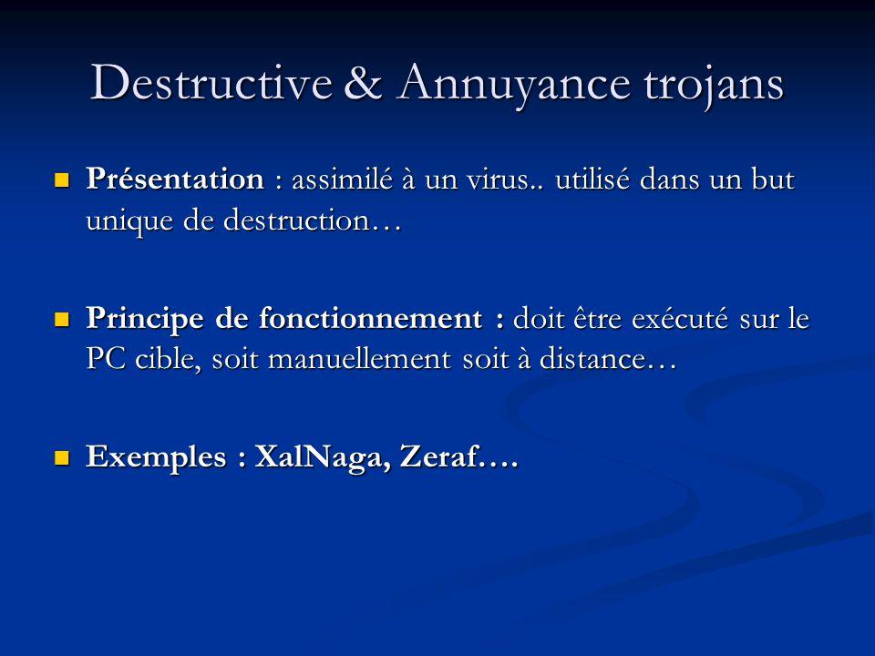 Destructive & Annuyance trojans Présentation : assimilé à un virus..