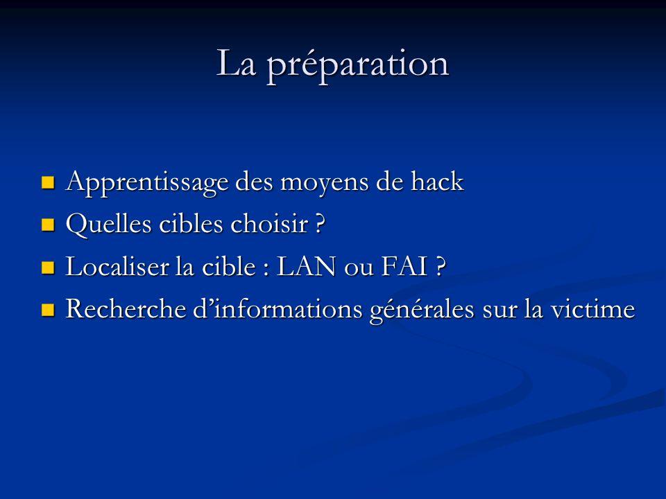 La préparation Apprentissage des moyens de hack Apprentissage des moyens de hack Quelles cibles choisir .