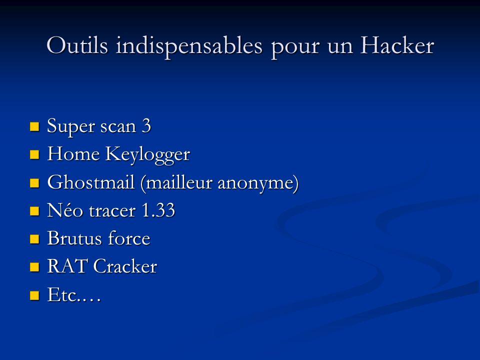 Outils indispensables pour un Hacker Super scan 3 Super scan 3 Home Keylogger Home Keylogger Ghostmail (mailleur anonyme) Ghostmail (mailleur anonyme) Néo tracer 1.33 Néo tracer 1.33 Brutus force Brutus force RAT Cracker RAT Cracker Etc.… Etc.…