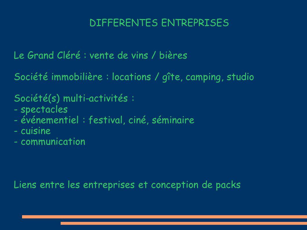 DIFFERENTES ENTREPRISES Le Grand Cléré : vente de vins / bières Société immobilière : locations / gîte, camping, studio Société(s) multi-activités : -