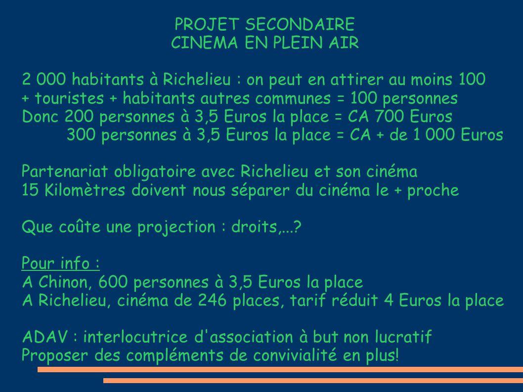 PROJET SECONDAIRE CINEMA EN PLEIN AIR 2 000 habitants à Richelieu : on peut en attirer au moins 100 + touristes + habitants autres communes = 100 personnes Donc 200 personnes à 3,5 Euros la place = CA 700 Euros 300 personnes à 3,5 Euros la place = CA + de 1 000 Euros Partenariat obligatoire avec Richelieu et son cinéma 15 Kilomètres doivent nous séparer du cinéma le + proche Que coûte une projection : droits,....