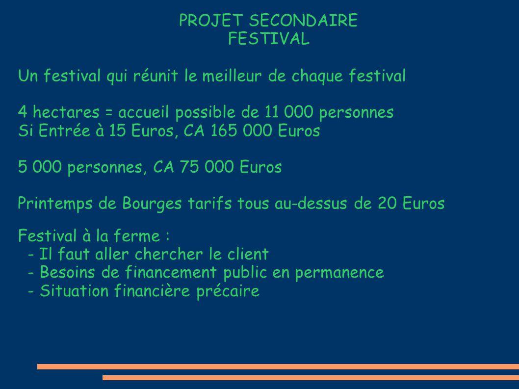 PROJET SECONDAIRE FESTIVAL Un festival qui réunit le meilleur de chaque festival 4 hectares = accueil possible de 11 000 personnes Si Entrée à 15 Euro