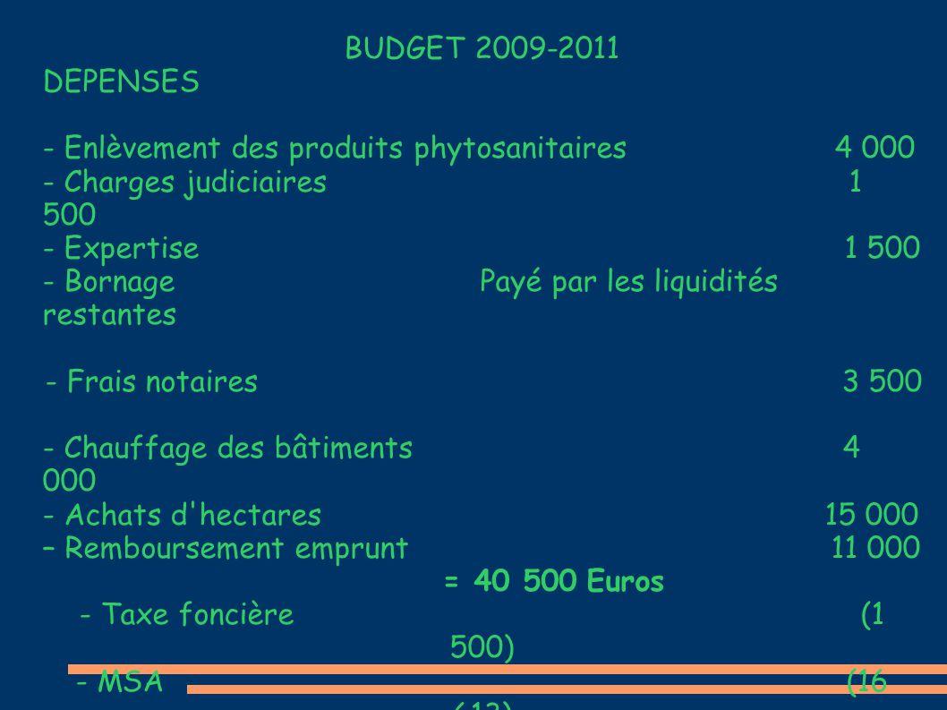 BUDGET 2009-2011 DEPENSES - Enlèvement des produits phytosanitaires 4 000 - Charges judiciaires 1 500 - Expertise 1 500 - Bornage Payé par les liquidi