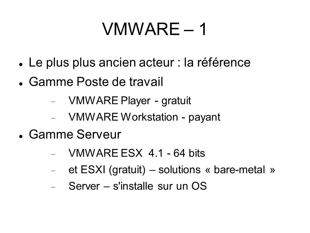 VMWARE – 1 Le plus plus ancien acteur : la référence Gamme Poste de travail VMWARE Player - gratuit VMWARE Workstation - payant Gamme Serveur VMWARE E