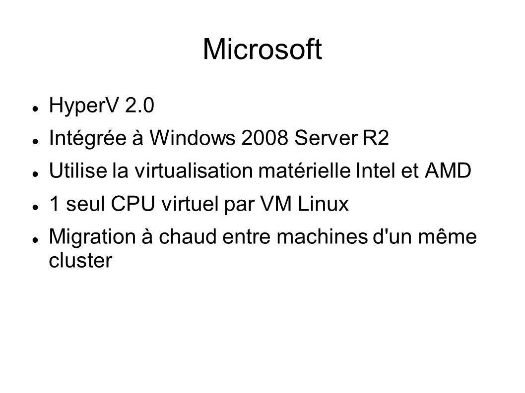 Microsoft HyperV 2.0 Intégrée à Windows 2008 Server R2 Utilise la virtualisation matérielle Intel et AMD 1 seul CPU virtuel par VM Linux Migration à c