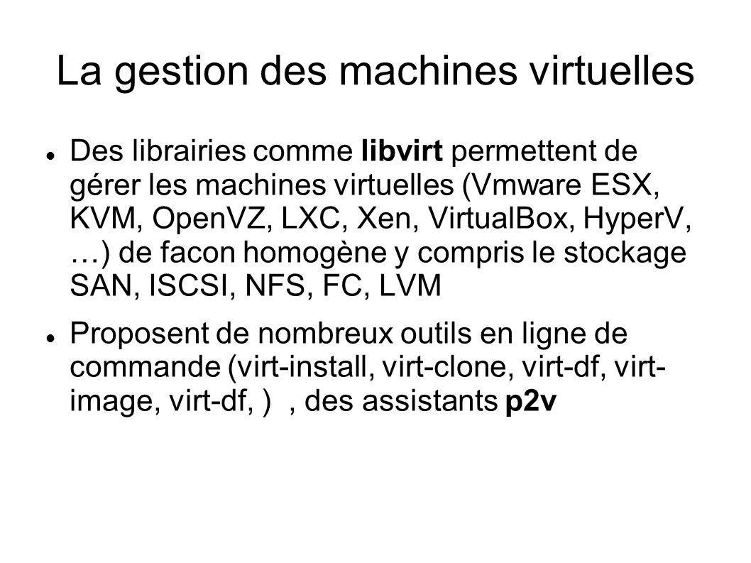 La gestion des machines virtuelles Des librairies comme libvirt permettent de gérer les machines virtuelles (Vmware ESX, KVM, OpenVZ, LXC, Xen, Virtua