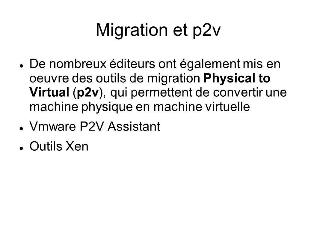 Migration et p2v De nombreux éditeurs ont également mis en oeuvre des outils de migration Physical to Virtual (p2v), qui permettent de convertir une m