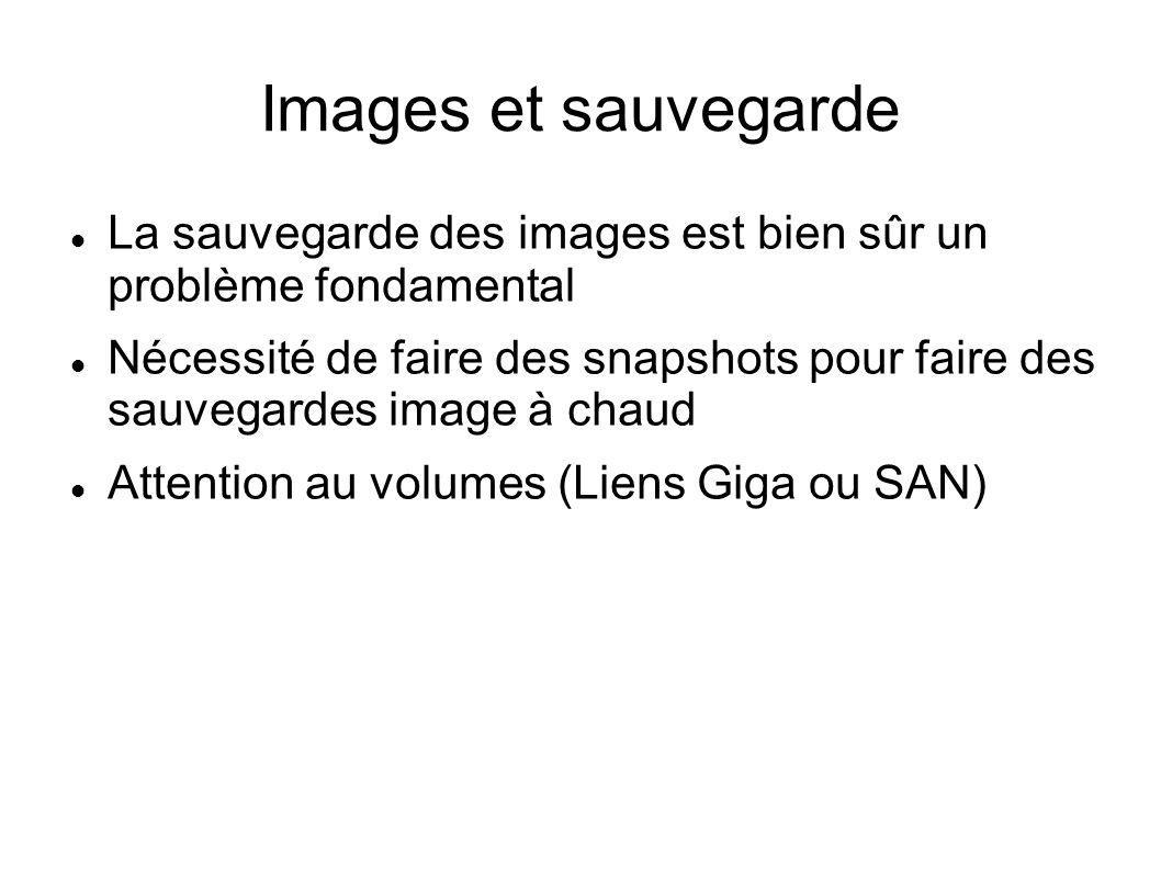 Images et sauvegarde La sauvegarde des images est bien sûr un problème fondamental Nécessité de faire des snapshots pour faire des sauvegardes image à