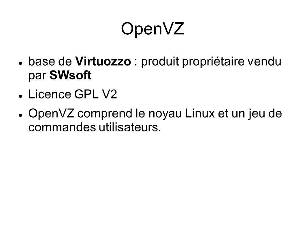OpenVZ base de Virtuozzo : produit propriétaire vendu par SWsoft Licence GPL V2 OpenVZ comprend le noyau Linux et un jeu de commandes utilisateurs.