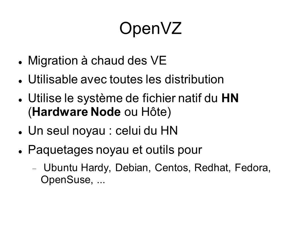 OpenVZ Migration à chaud des VE Utilisable avec toutes les distribution Utilise le système de fichier natif du HN (Hardware Node ou Hôte) Un seul noya