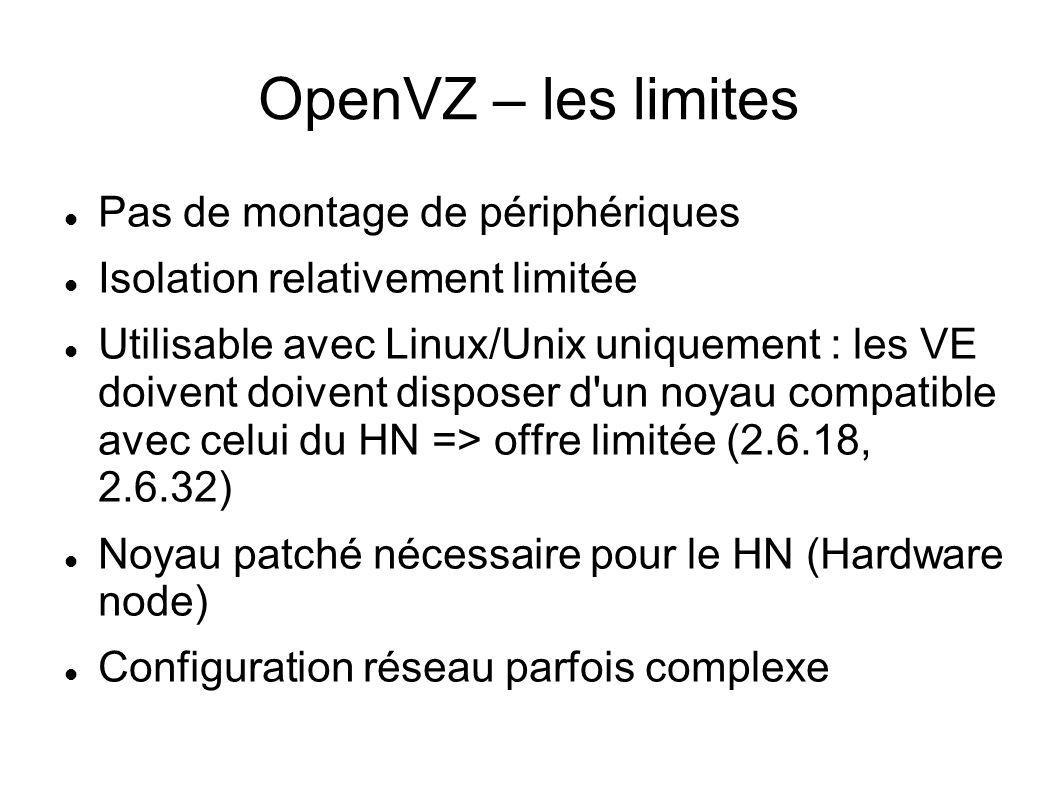 OpenVZ – les limites Pas de montage de périphériques Isolation relativement limitée Utilisable avec Linux/Unix uniquement : les VE doivent doivent dis