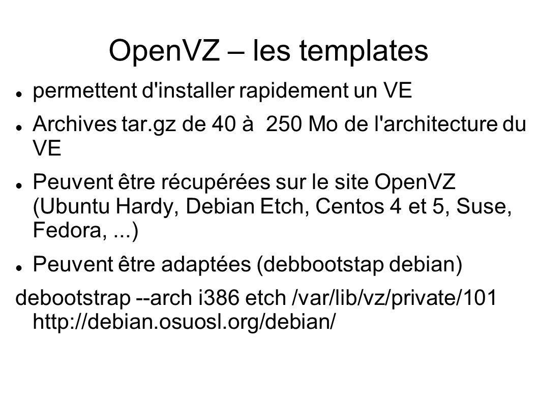 OpenVZ – les templates permettent d'installer rapidement un VE Archives tar.gz de 40 à 250 Mo de l'architecture du VE Peuvent être récupérées sur le s