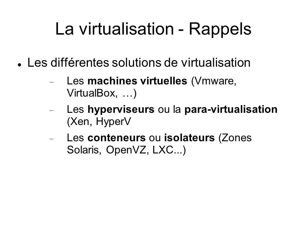 La virtualisation - Rappels Les différentes solutions de virtualisation Les machines virtuelles (Vmware, VirtualBox, …) Les hyperviseurs ou la para-vi
