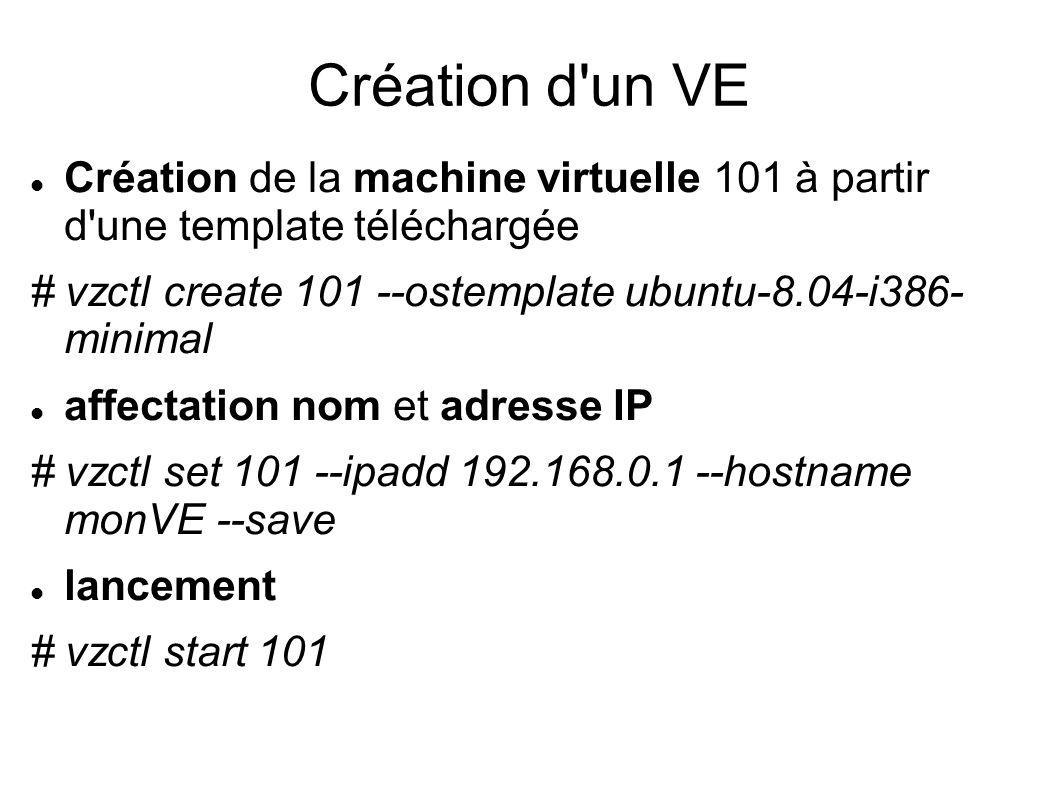 Création d'un VE Création de la machine virtuelle 101 à partir d'une template téléchargée # vzctl create 101 --ostemplate ubuntu-8.04-i386- minimal af