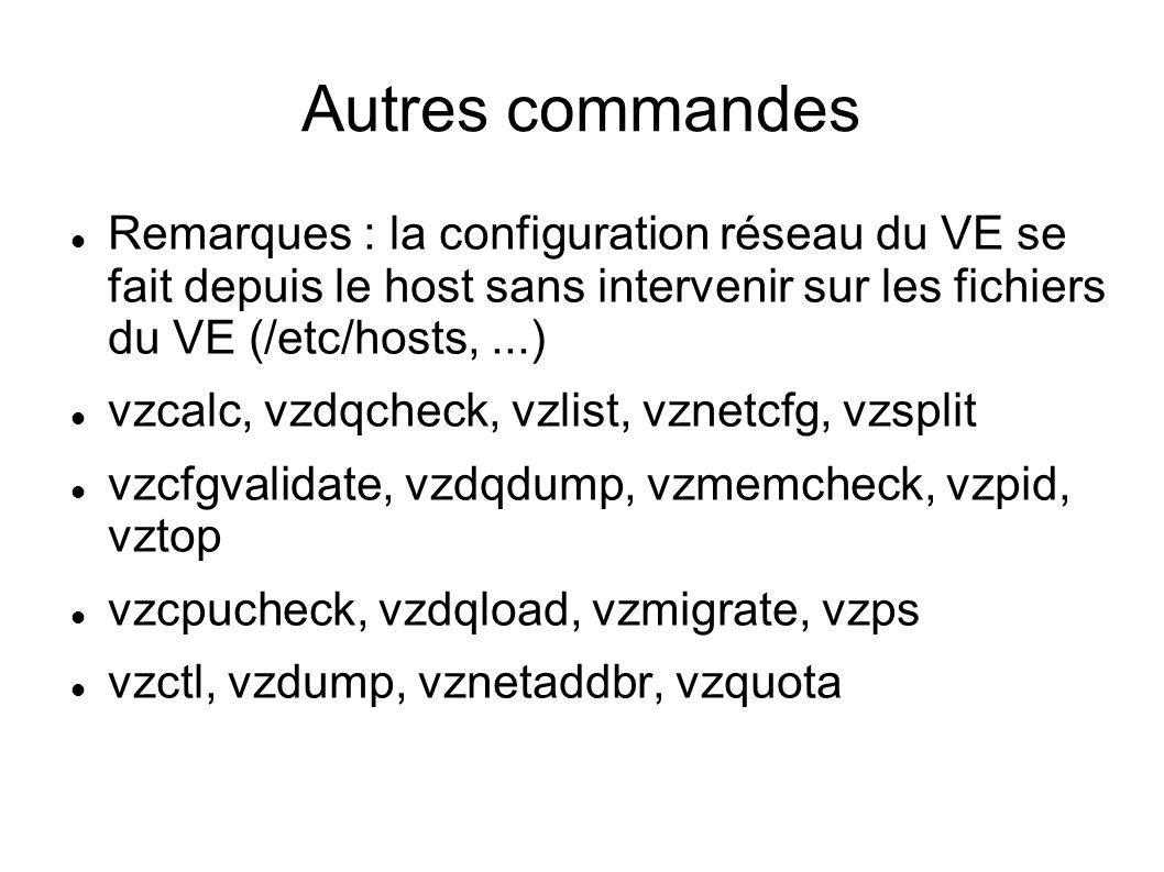 Autres commandes Remarques : la configuration réseau du VE se fait depuis le host sans intervenir sur les fichiers du VE (/etc/hosts,...) vzcalc, vzdq