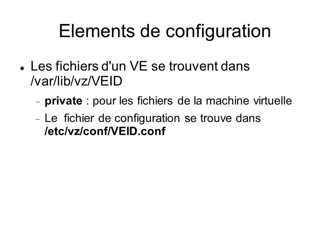 Elements de configuration Les fichiers d'un VE se trouvent dans /var/lib/vz/VEID private : pour les fichiers de la machine virtuelle Le fichier de con