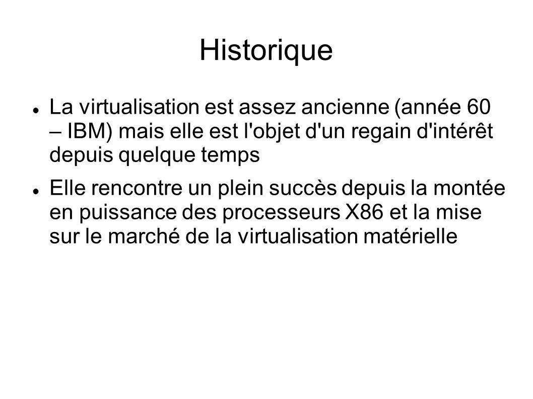 VirtualBox – 2 - Gère les snapshots imbriqués Guest : peut disposer de 32 processeurs Migration à chaud des machines virtuelles Support USB, ACPI et stockage ISCSI Accès distant avec le protocole VRDP Assistant de clonage de machines virtuelles