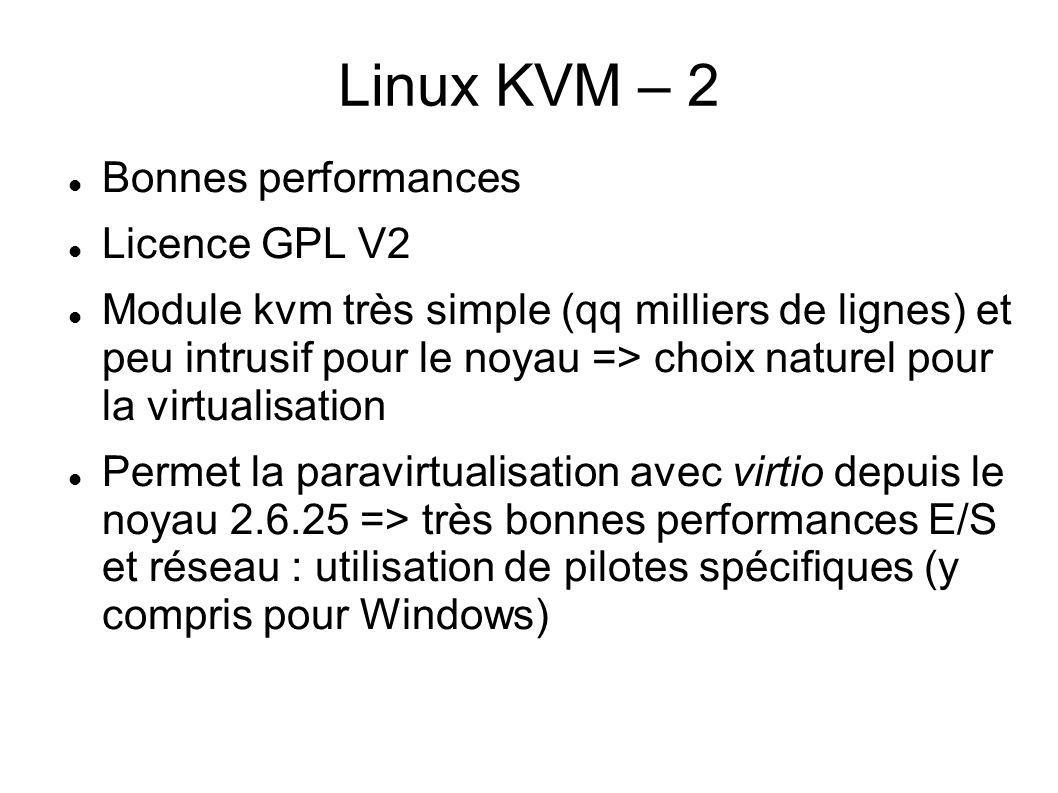 Linux KVM – 2 Bonnes performances Licence GPL V2 Module kvm très simple (qq milliers de lignes) et peu intrusif pour le noyau => choix naturel pour la