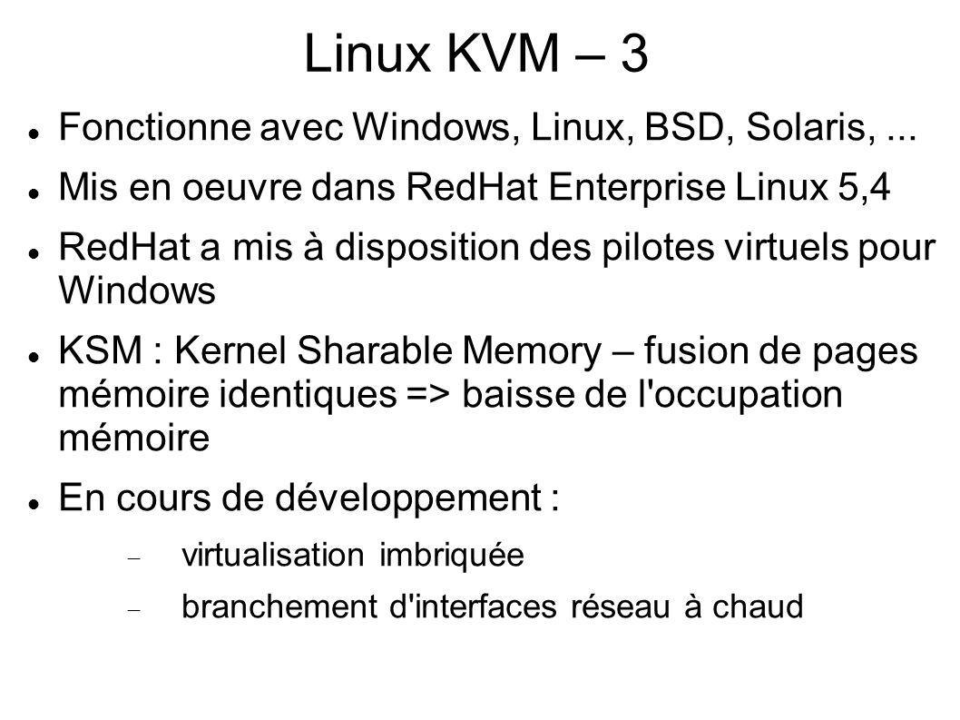 Linux KVM – 3 Fonctionne avec Windows, Linux, BSD, Solaris,... Mis en oeuvre dans RedHat Enterprise Linux 5,4 RedHat a mis à disposition des pilotes v