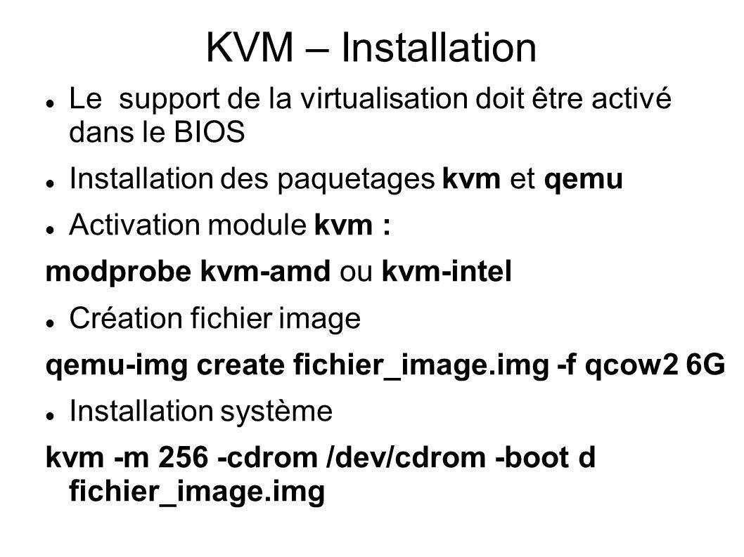 KVM – Installation Le support de la virtualisation doit être activé dans le BIOS Installation des paquetages kvm et qemu Activation module kvm : modpr