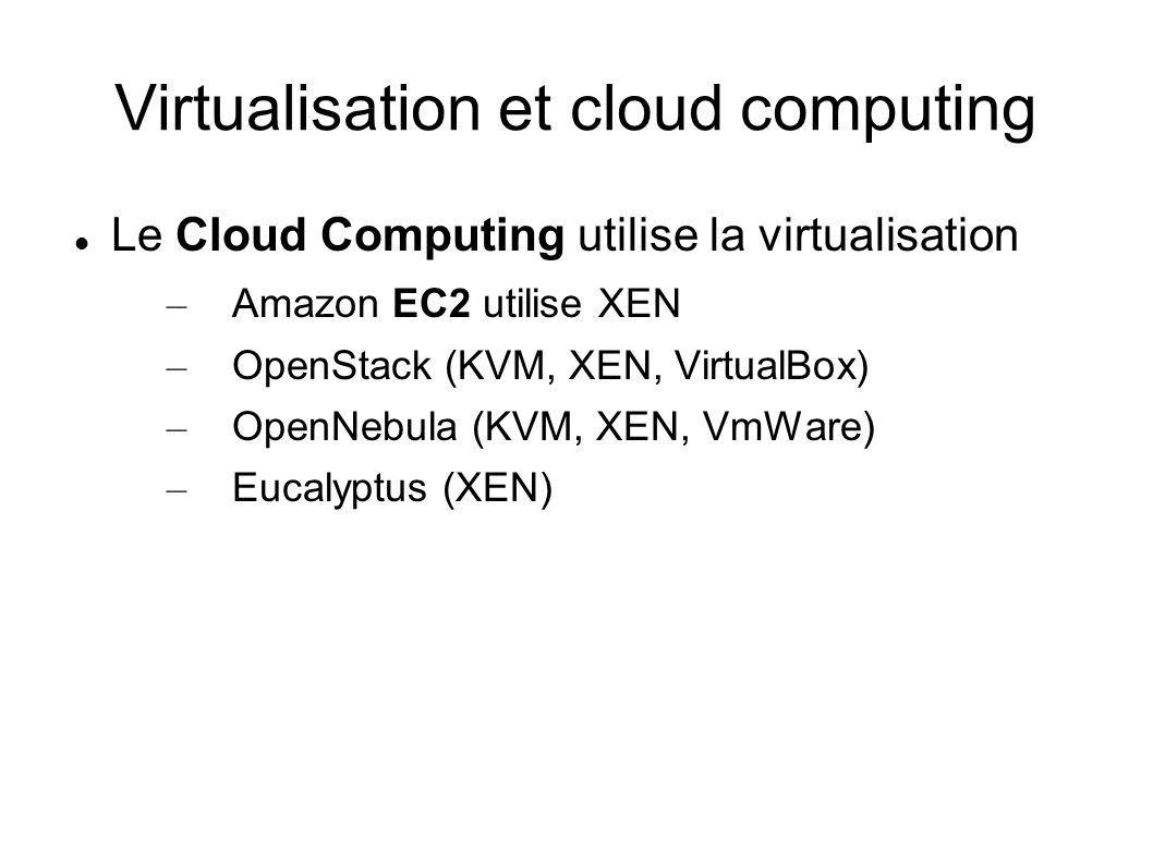 Virtualisation et cloud computing Le Cloud Computing utilise la virtualisation – Amazon EC2 utilise XEN – OpenStack (KVM, XEN, VirtualBox) – OpenNebul