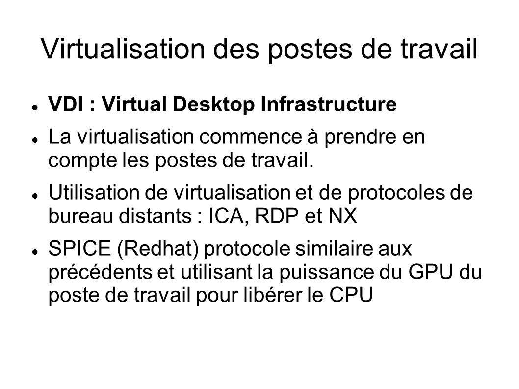 La gestion des machines virtuelles Des librairies comme libvirt permettent de gérer les machines virtuelles (Vmware ESX, KVM, OpenVZ, LXC, Xen, VirtualBox, HyperV, …) de facon homogène y compris le stockage SAN, ISCSI, NFS, FC, LVM Proposent de nombreux outils en ligne de commande (virt-install, virt-clone, virt-df, virt- image, virt-df, ), des assistants p2v