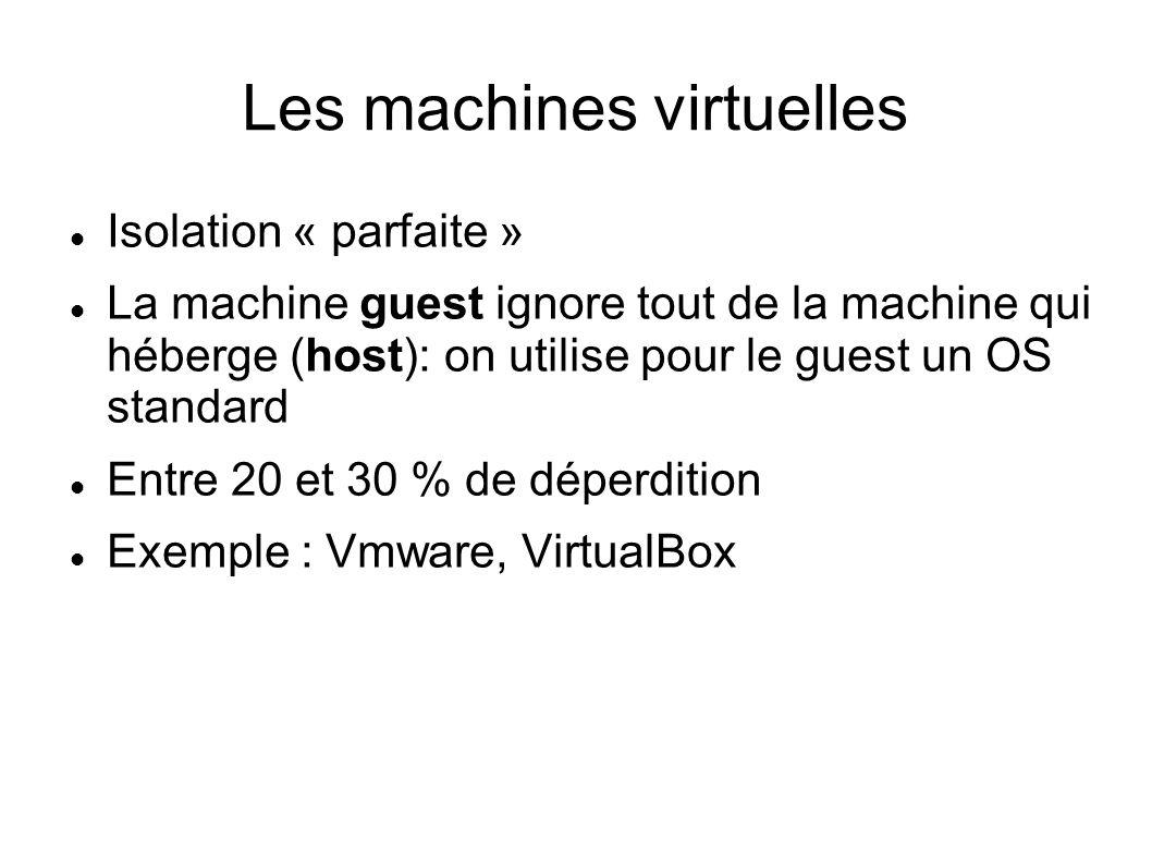 Les machines virtuelles Isolation « parfaite » La machine guest ignore tout de la machine qui héberge (host): on utilise pour le guest un OS standard