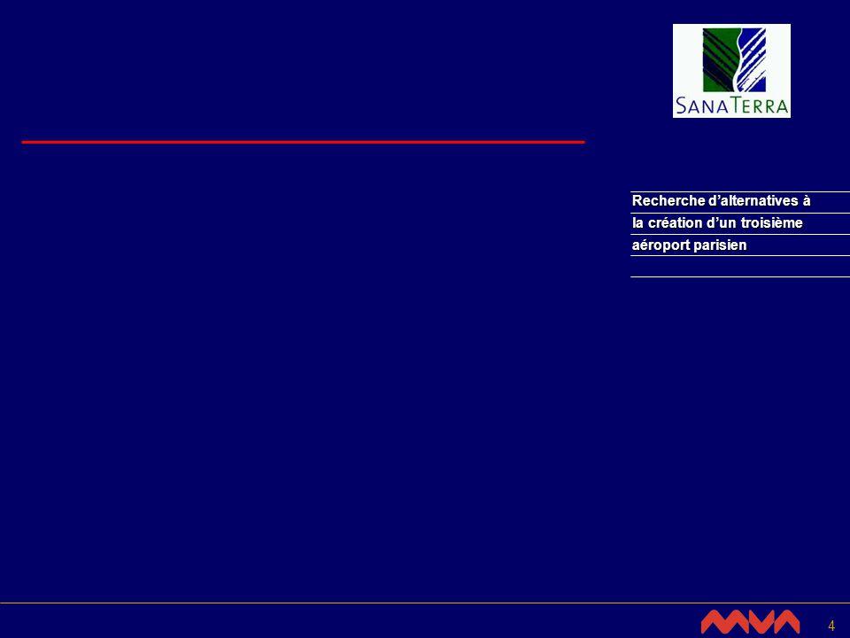 5 Présentation de létude réalisée par MVA Ltd pour Sana Terra Recherche dalternatives à la création dun troisième aéroport parisien Octobre 2002