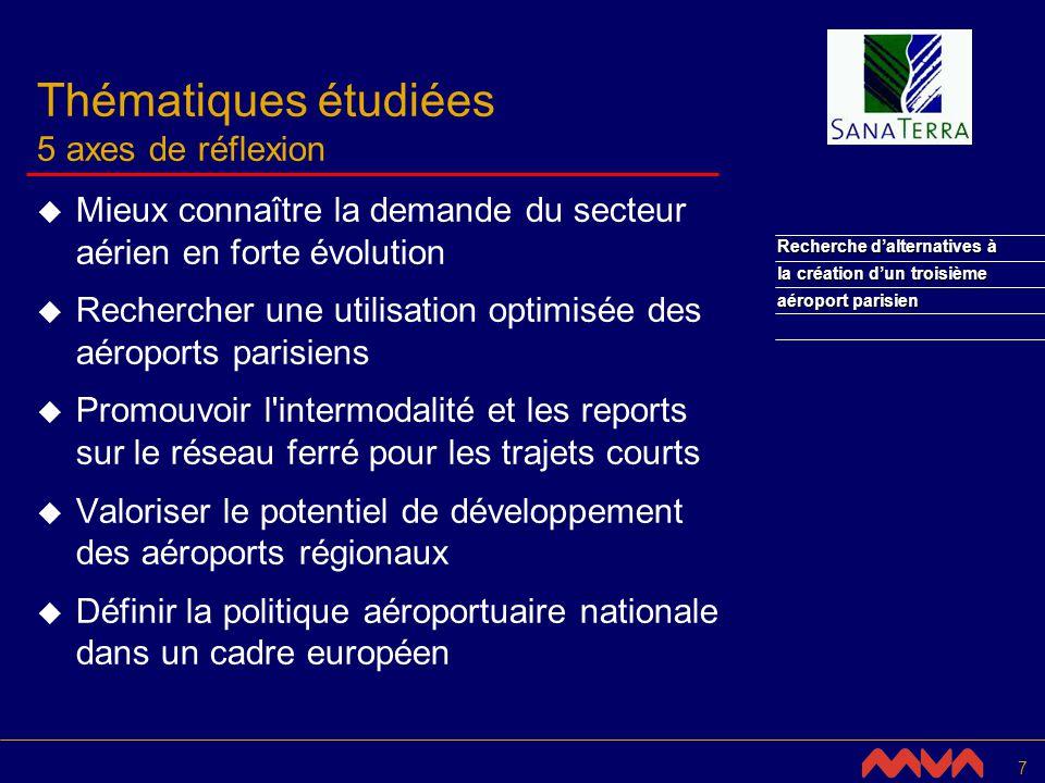 28 Recherche dalternatives à la création dun troisième aéroport parisien Définir la politique aéroportuaire dans un cadre européen (3/4) Constat Compagnies aériennes consolidation des compagnies traditionnelles émergence des compagnies à bas coûts spécialisation de l offre .