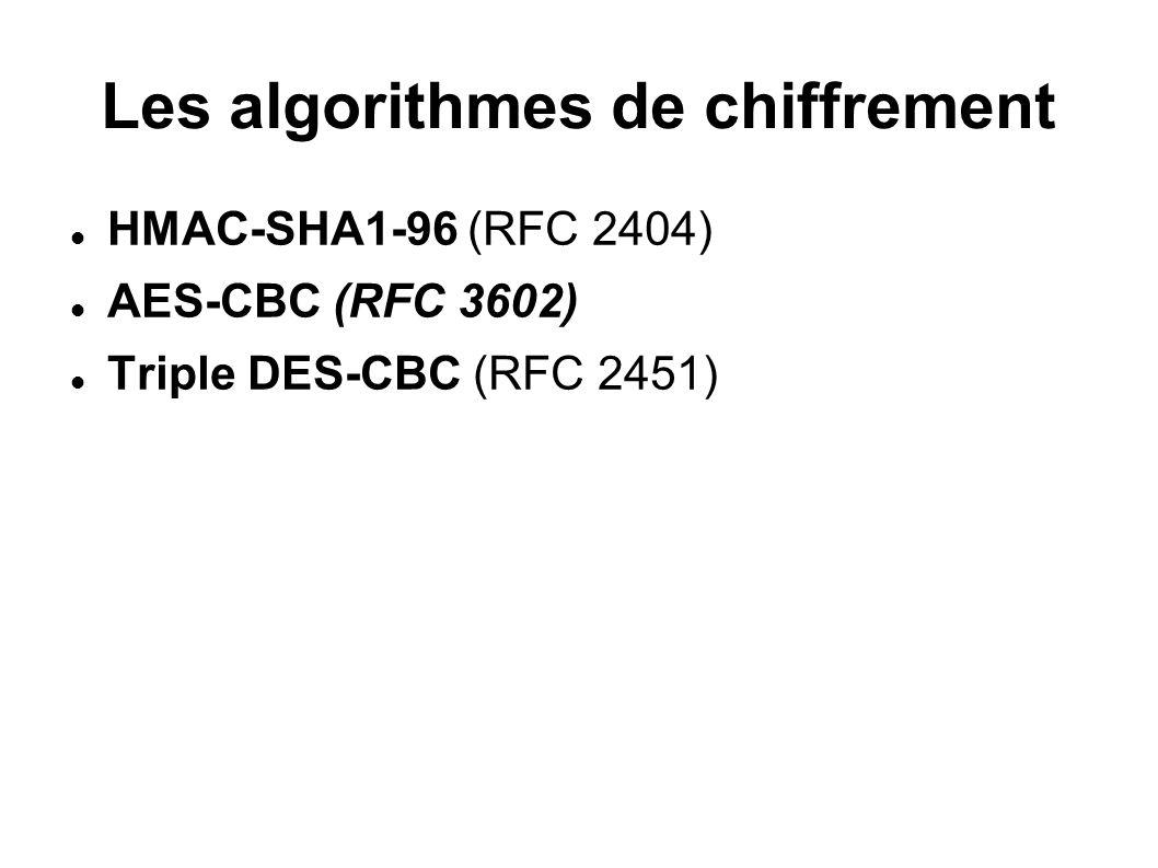 Les algorithmes de chiffrement HMAC-SHA1-96 (RFC 2404) AES-CBC (RFC 3602) Triple DES-CBC (RFC 2451)