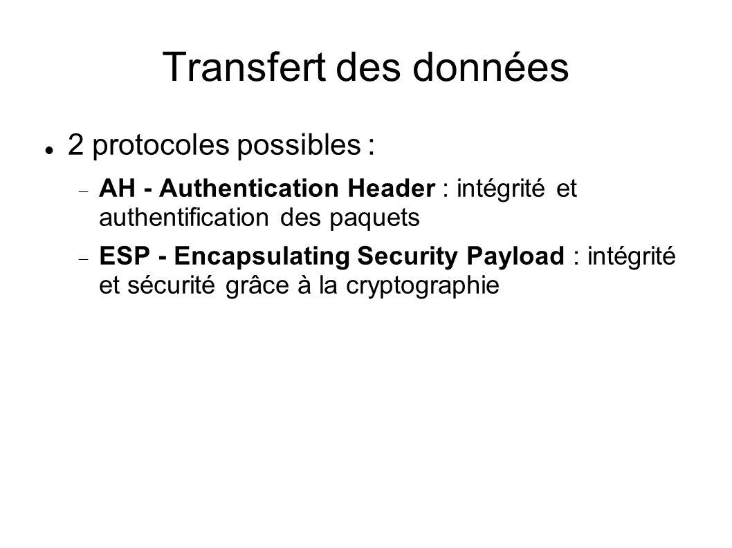 Transfert des données 2 protocoles possibles : AH - Authentication Header : intégrité et authentification des paquets ESP - Encapsulating Security Pay