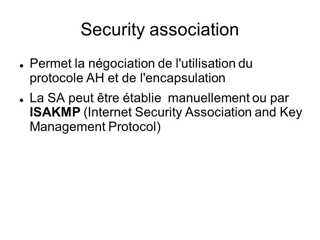 Security association Permet la négociation de l utilisation du protocole AH et de l encapsulation La SA peut être établie manuellement ou par ISAKMP (Internet Security Association and Key Management Protocol)