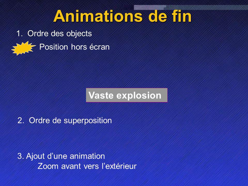 Name Event Date Name Event Date 2 Vaste explosion Animations de fin Position hors écran 1.