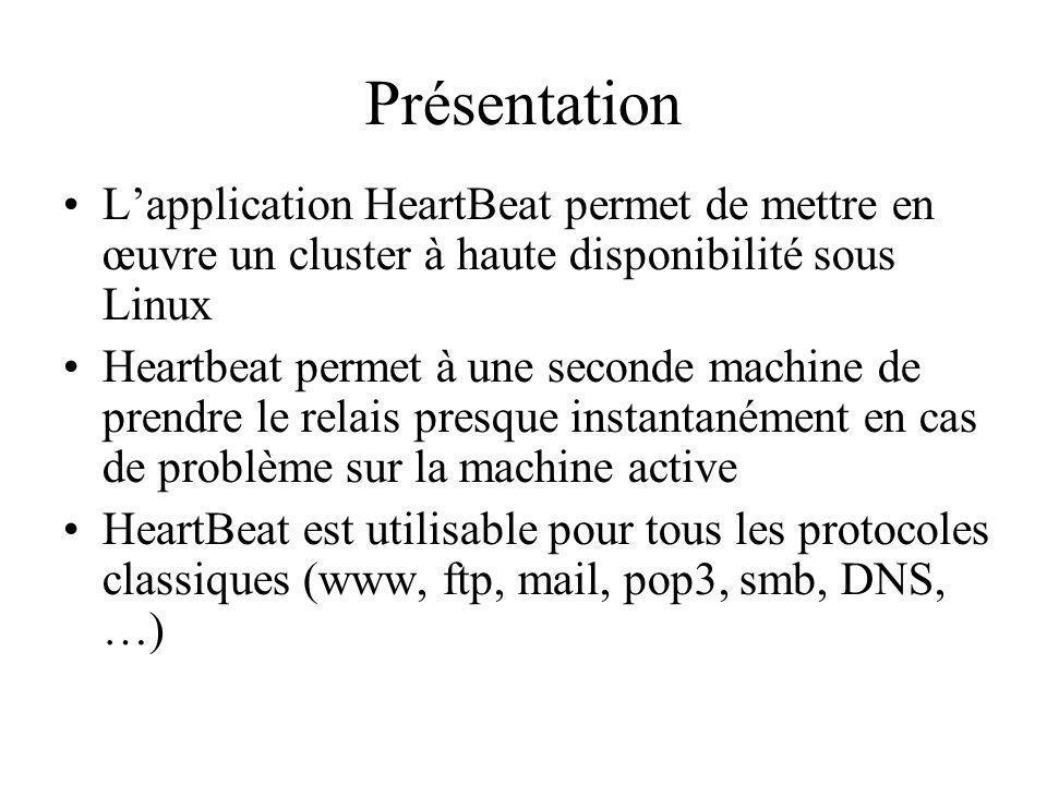 Présentation Lapplication HeartBeat permet de mettre en œuvre un cluster à haute disponibilité sous Linux Heartbeat permet à une seconde machine de prendre le relais presque instantanément en cas de problème sur la machine active HeartBeat est utilisable pour tous les protocoles classiques (www, ftp, mail, pop3, smb, DNS, …)