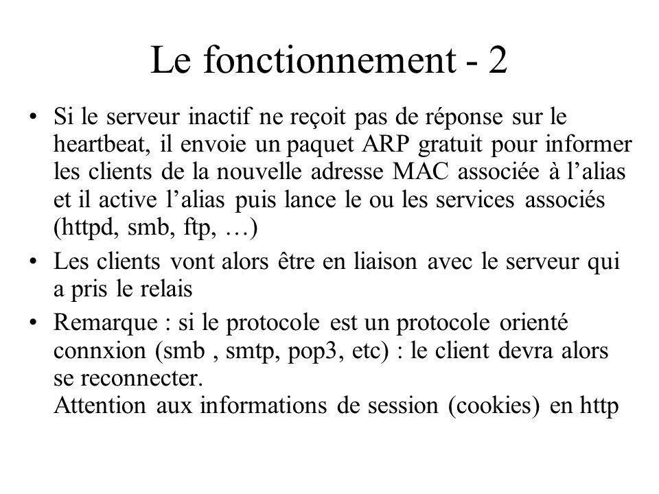 Le fonctionnement - 2 Si le serveur inactif ne reçoit pas de réponse sur le heartbeat, il envoie un paquet ARP gratuit pour informer les clients de la nouvelle adresse MAC associée à lalias et il active lalias puis lance le ou les services associés (httpd, smb, ftp, …) Les clients vont alors être en liaison avec le serveur qui a pris le relais Remarque : si le protocole est un protocole orienté connxion (smb, smtp, pop3, etc) : le client devra alors se reconnecter.