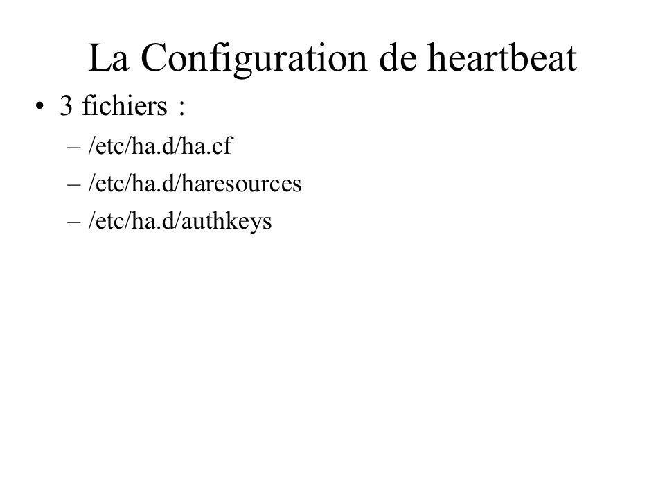 La Configuration de heartbeat 3 fichiers : –/etc/ha.d/ha.cf –/etc/ha.d/haresources –/etc/ha.d/authkeys