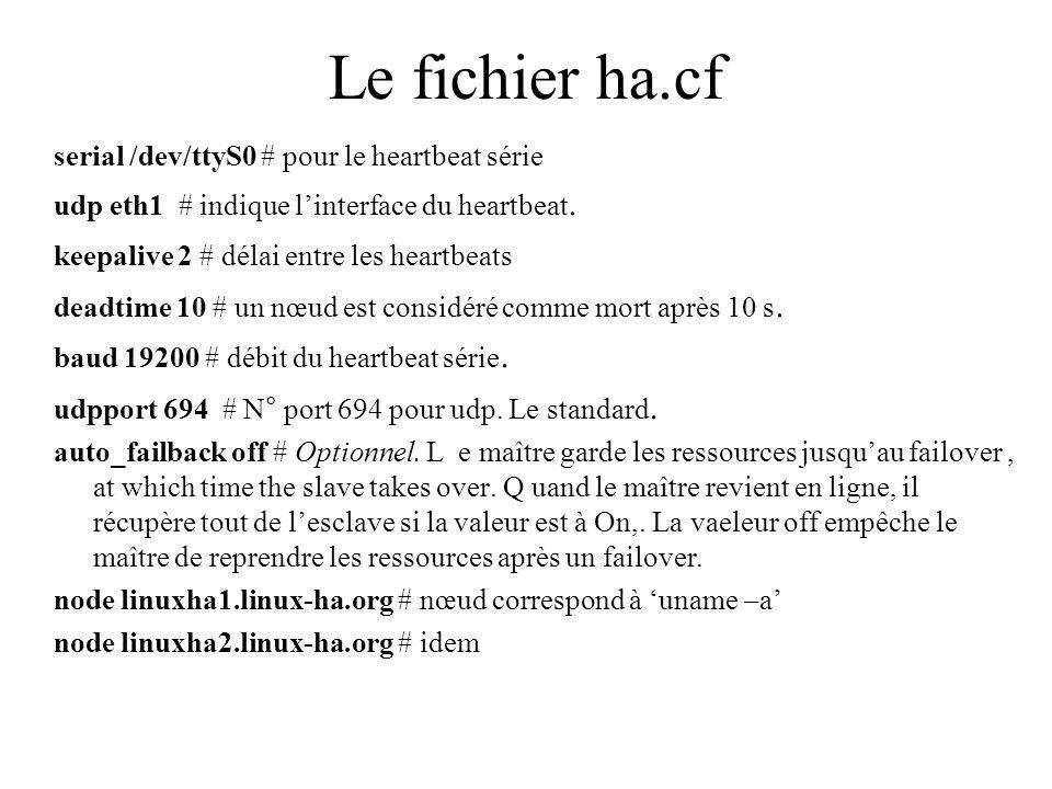Le fichier ha.cf serial /dev/ttyS0 # pour le heartbeat série udp eth1 # indique linterface du heartbeat.