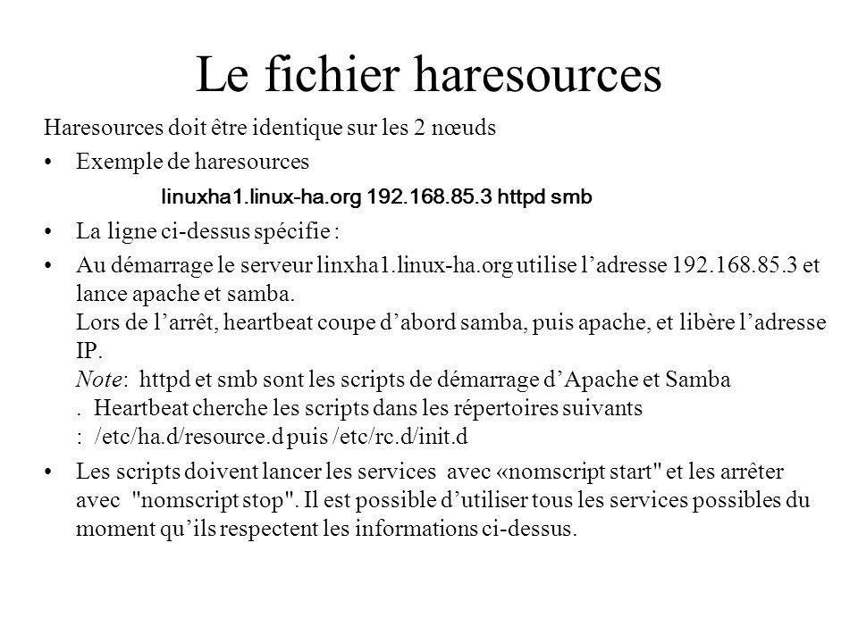 Le fichier haresources Haresources doit être identique sur les 2 nœuds Exemple de haresources linuxha1.linux-ha.org 192.168.85.3 httpd smb La ligne ci-dessus spécifie : Au démarrage le serveur linxha1.linux-ha.org utilise ladresse 192.168.85.3 et lance apache et samba.