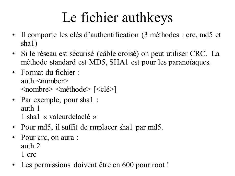 Le fichier authkeys Il comporte les clés dauthentification (3 méthodes : crc, md5 et sha1) Si le réseau est sécurisé (câble croisé) on peut utiliser CRC.