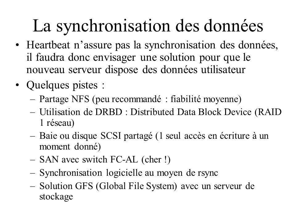 La synchronisation des données Heartbeat nassure pas la synchronisation des données, il faudra donc envisager une solution pour que le nouveau serveur dispose des données utilisateur Quelques pistes : –Partage NFS (peu recommandé : fiabilité moyenne) –Utilisation de DRBD : Distributed Data Block Device (RAID 1 réseau) –Baie ou disque SCSI partagé (1 seul accès en écriture à un moment donné) –SAN avec switch FC-AL (cher !) –Synchronisation logicielle au moyen de rsync –Solution GFS (Global File System) avec un serveur de stockage