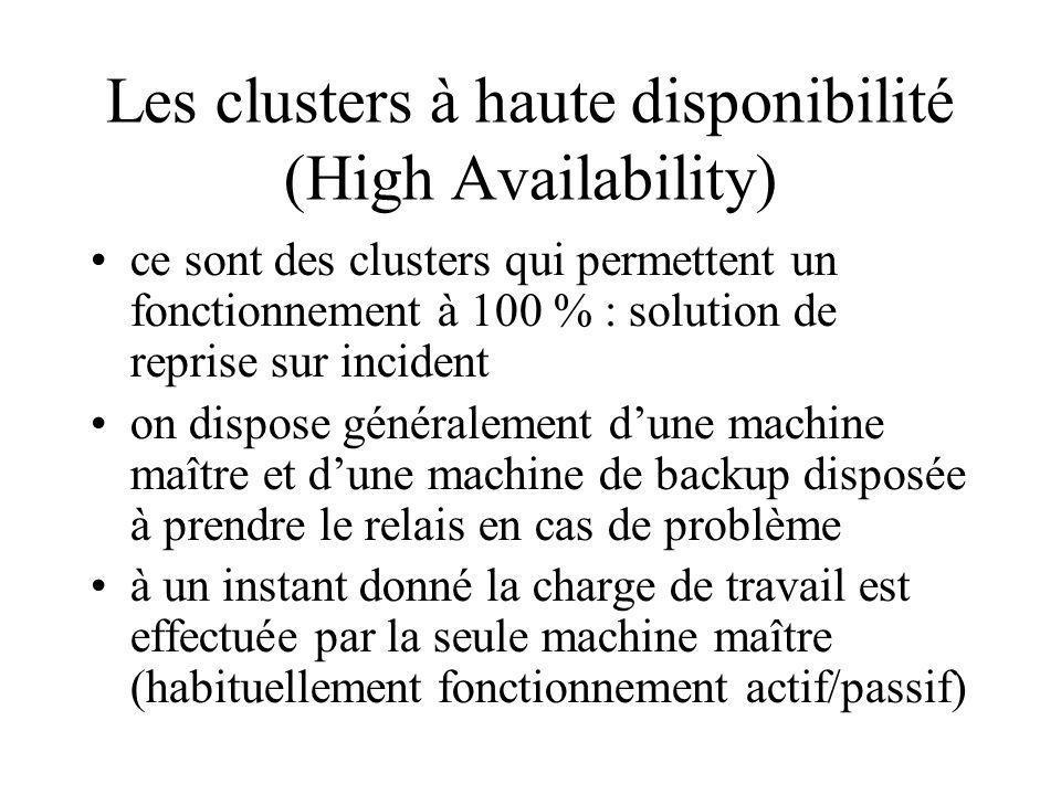 Les clusters à haute disponibilité (High Availability) ce sont des clusters qui permettent un fonctionnement à 100 % : solution de reprise sur incident on dispose généralement dune machine maître et dune machine de backup disposée à prendre le relais en cas de problème à un instant donné la charge de travail est effectuée par la seule machine maître (habituellement fonctionnement actif/passif)