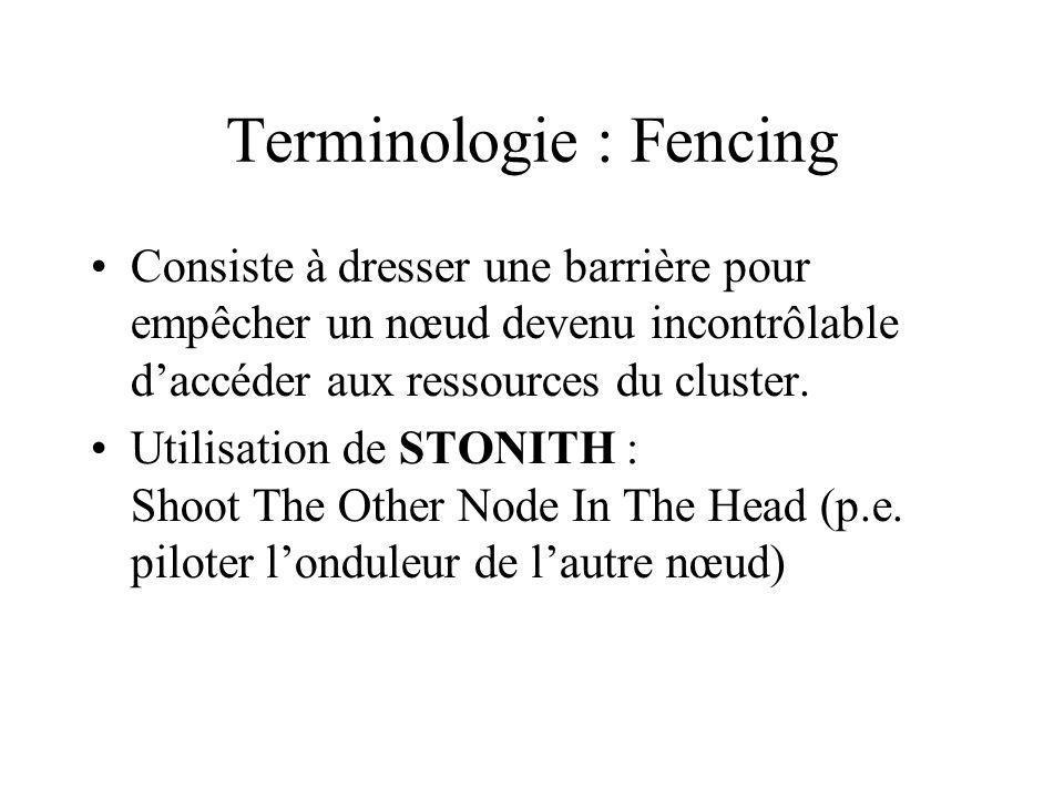 Terminologie : Fencing Consiste à dresser une barrière pour empêcher un nœud devenu incontrôlable daccéder aux ressources du cluster.