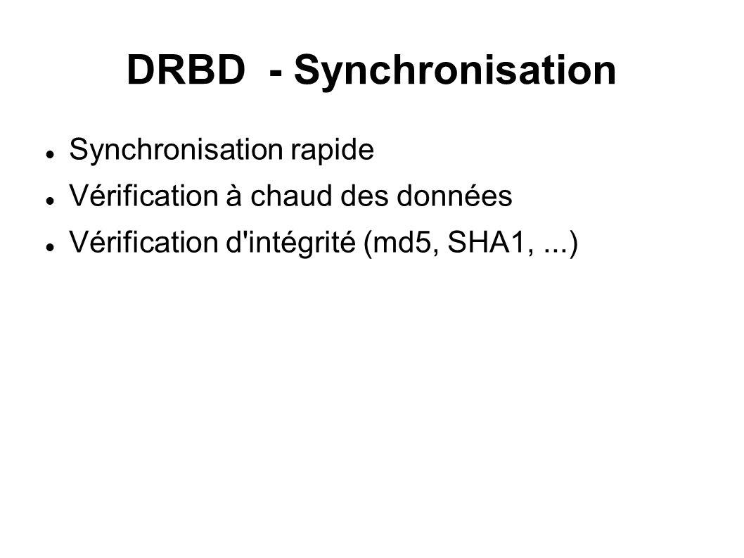 DRBD - Synchronisation Synchronisation rapide Vérification à chaud des données Vérification d intégrité (md5, SHA1,...)